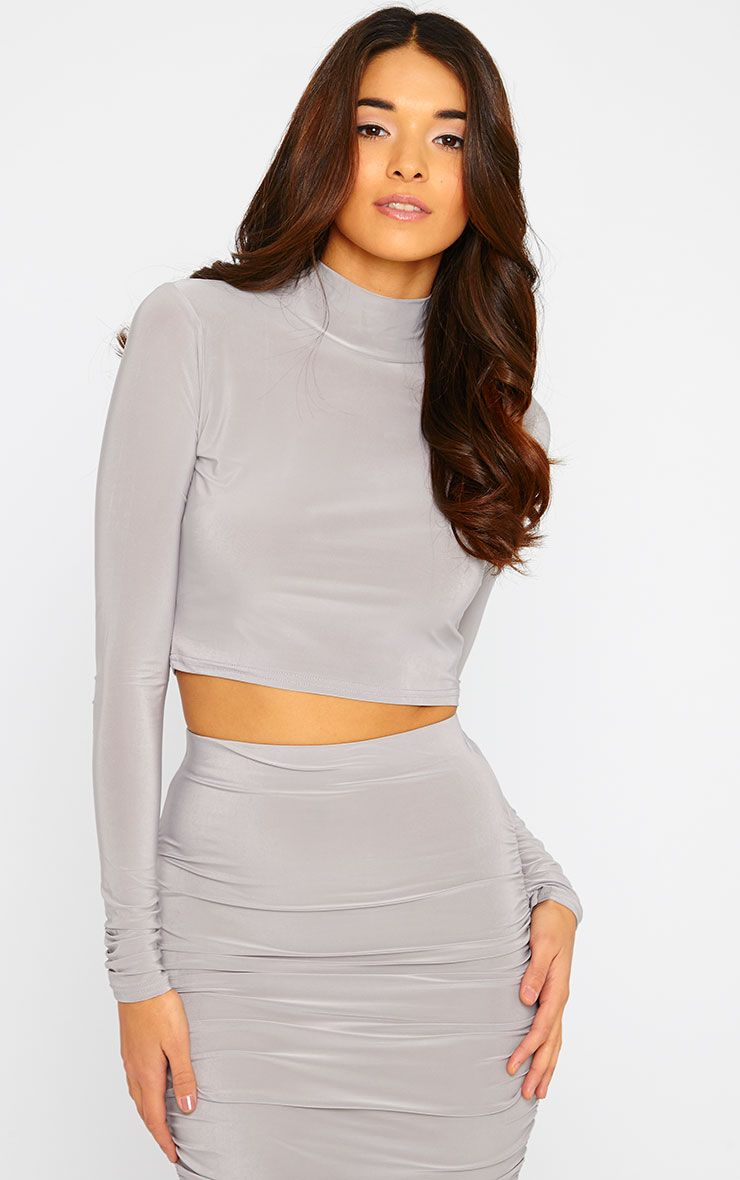 Saylor Grey Turtle Neck Crop Top 1