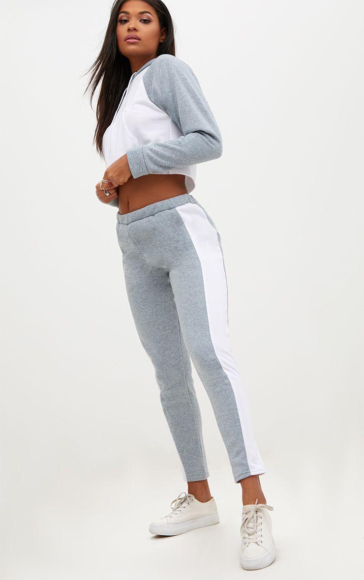 Grey Contrast Side Stripe Joggers