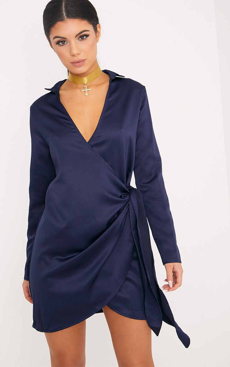 Shaylene Navy Tie Side Satin Shirt Dress