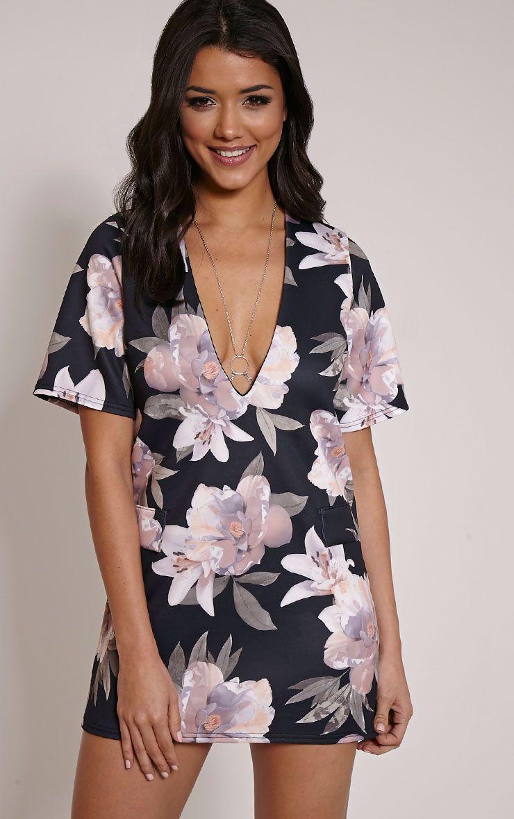 Raean Black Floral Print Extreme Mini Shift Dress 1