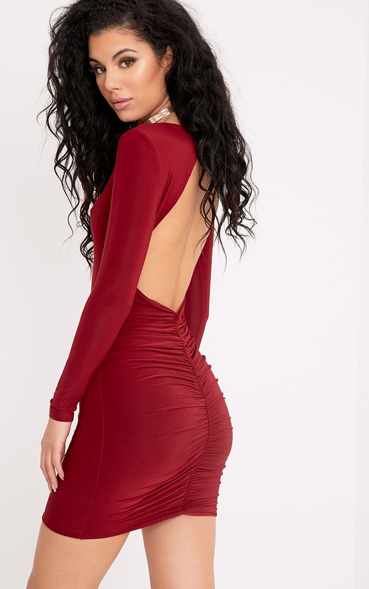 Alisiah Burgundy Ruched Back Bodycon Dress