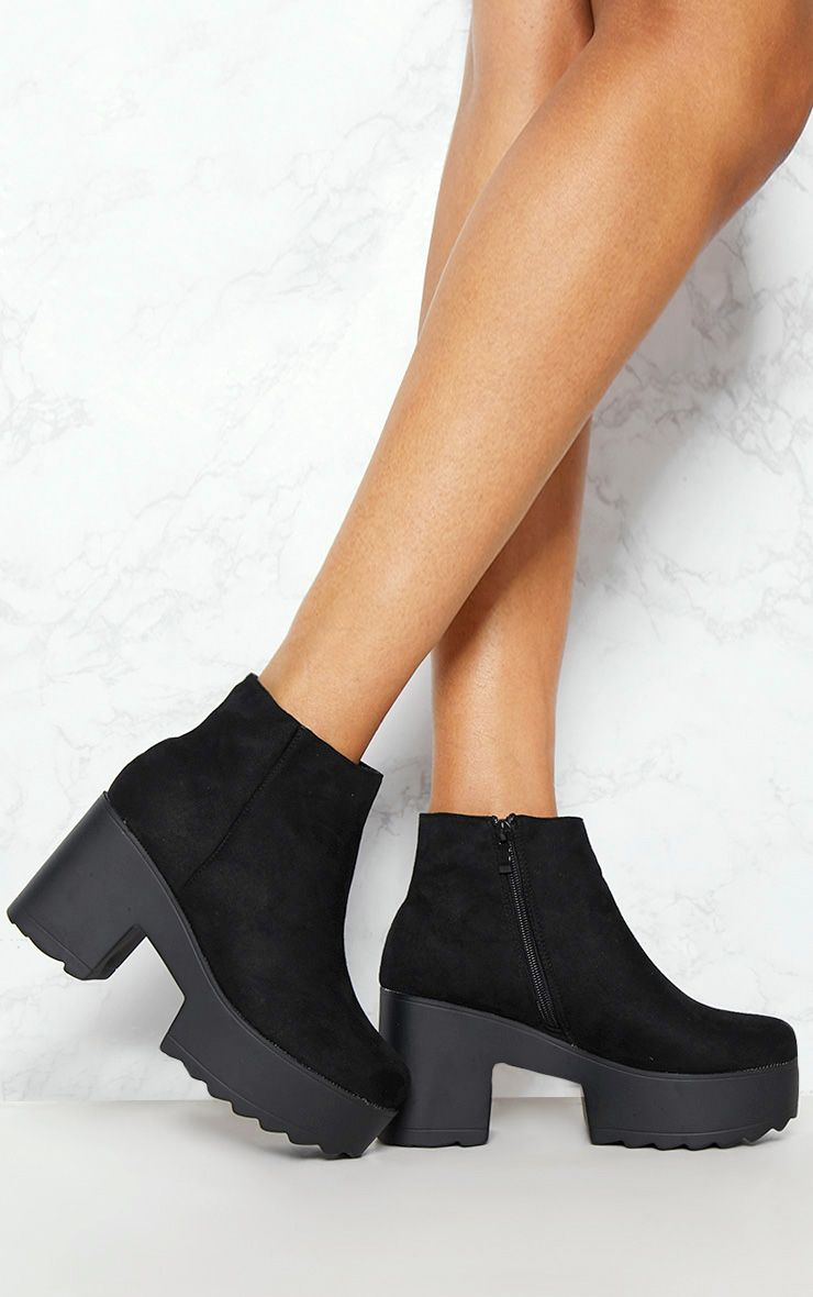 Black Chunky Platform Ankle Boot
