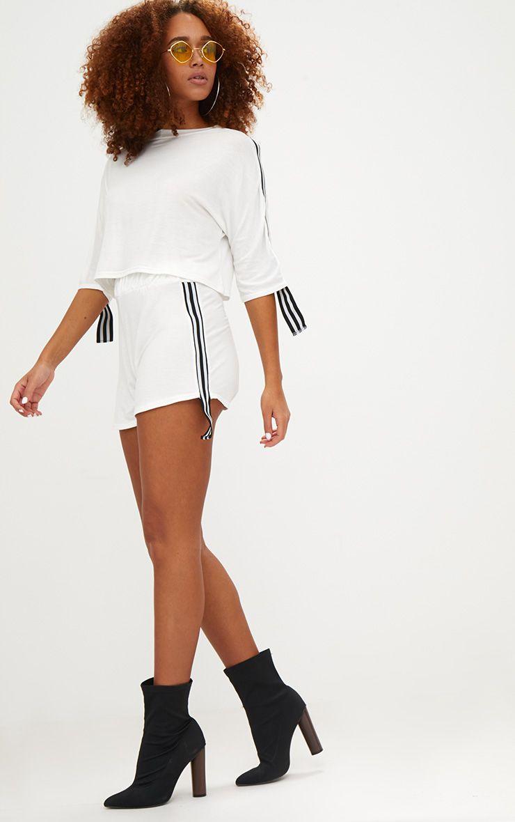 Cream Stripe Tape Trim Jersey Shorts