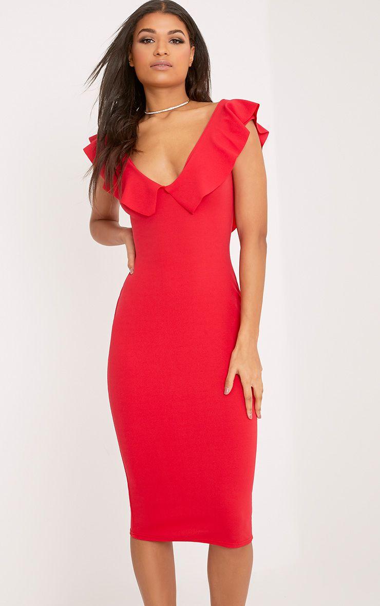 Christa Red Frill Sleeve Midi Dress