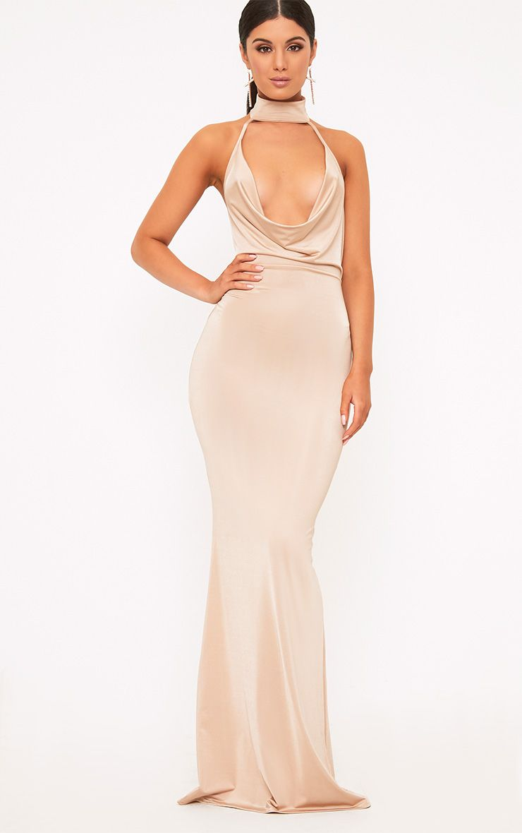 Yasmeen Nude Slinky Cowl Neck Maxi Dress 1