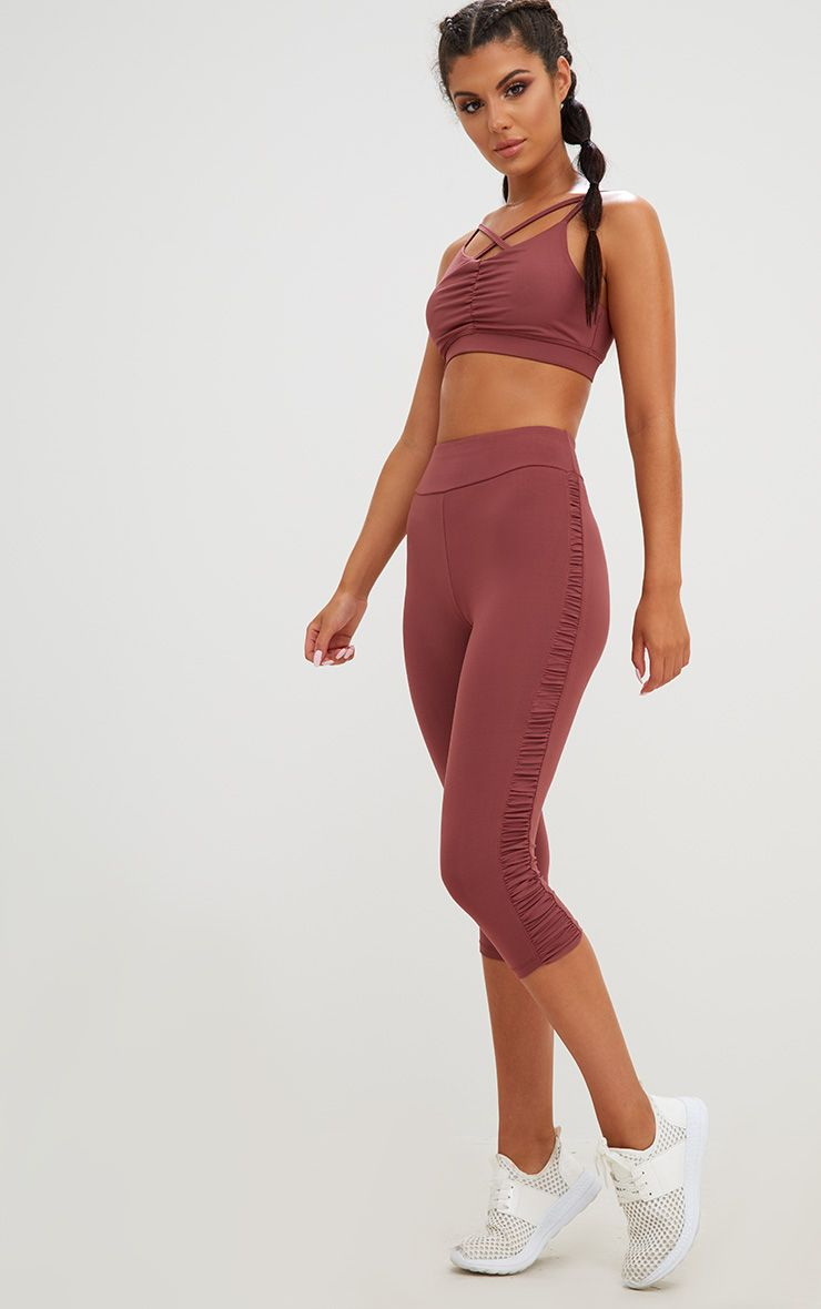 Rose Ruched 3/4 Leggings