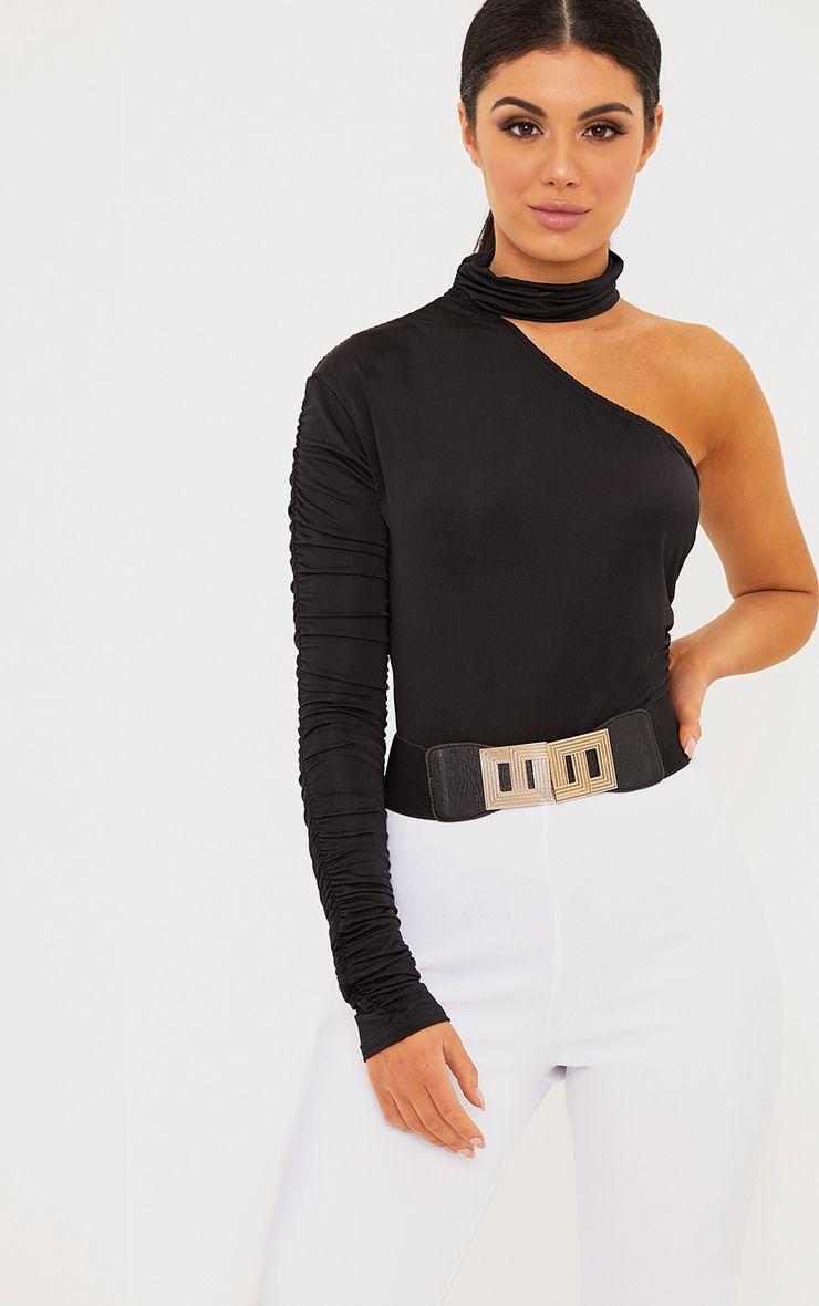 Black Slinky Ruched One Sleeve Choker Thong Bodysuit 1