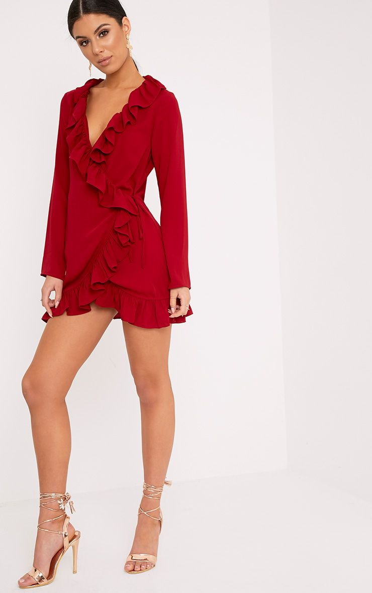 Neeko Red Frill Wrap Shift Dress 1