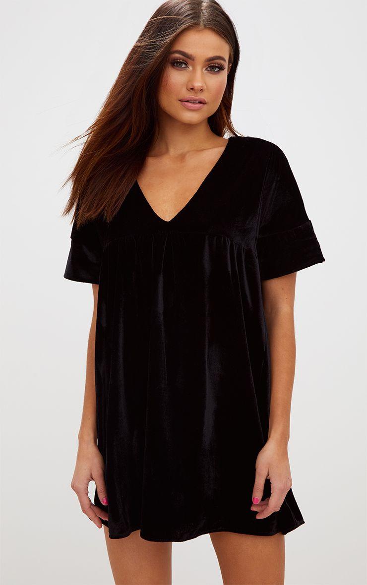 Black Velvet Smock Dress