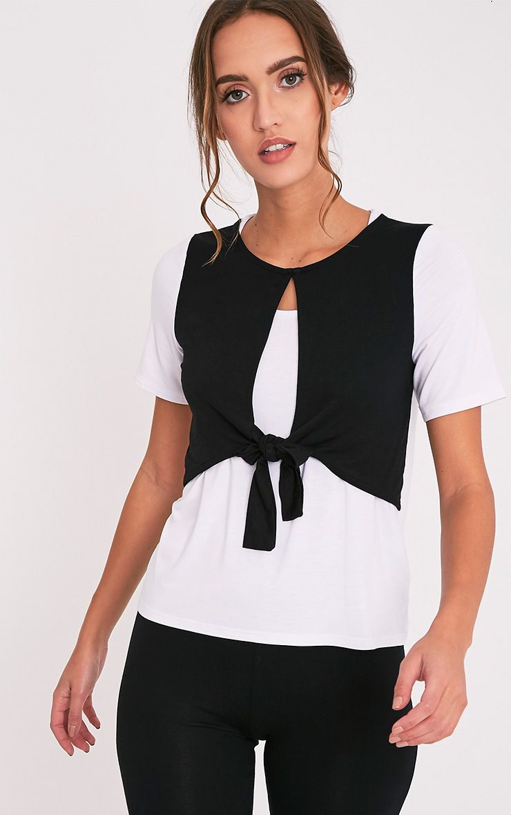 Louise Black Contrast Bow Front T Shirt