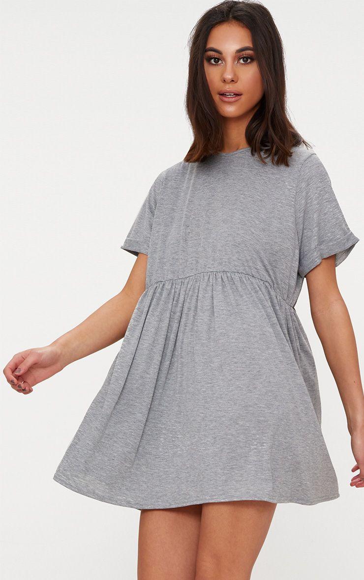 Grey Marl Jersey Oversized Smock Dress