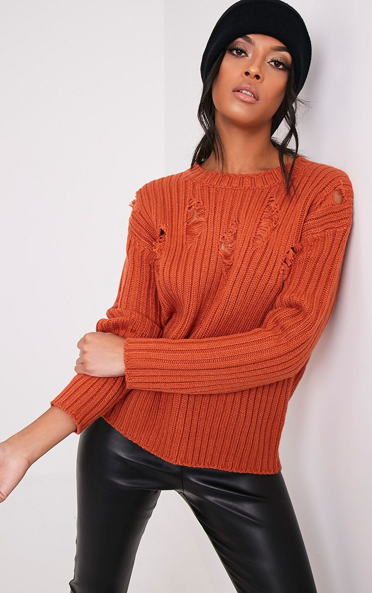 Avae Tobacco Super Distress Thick Knit Jumper