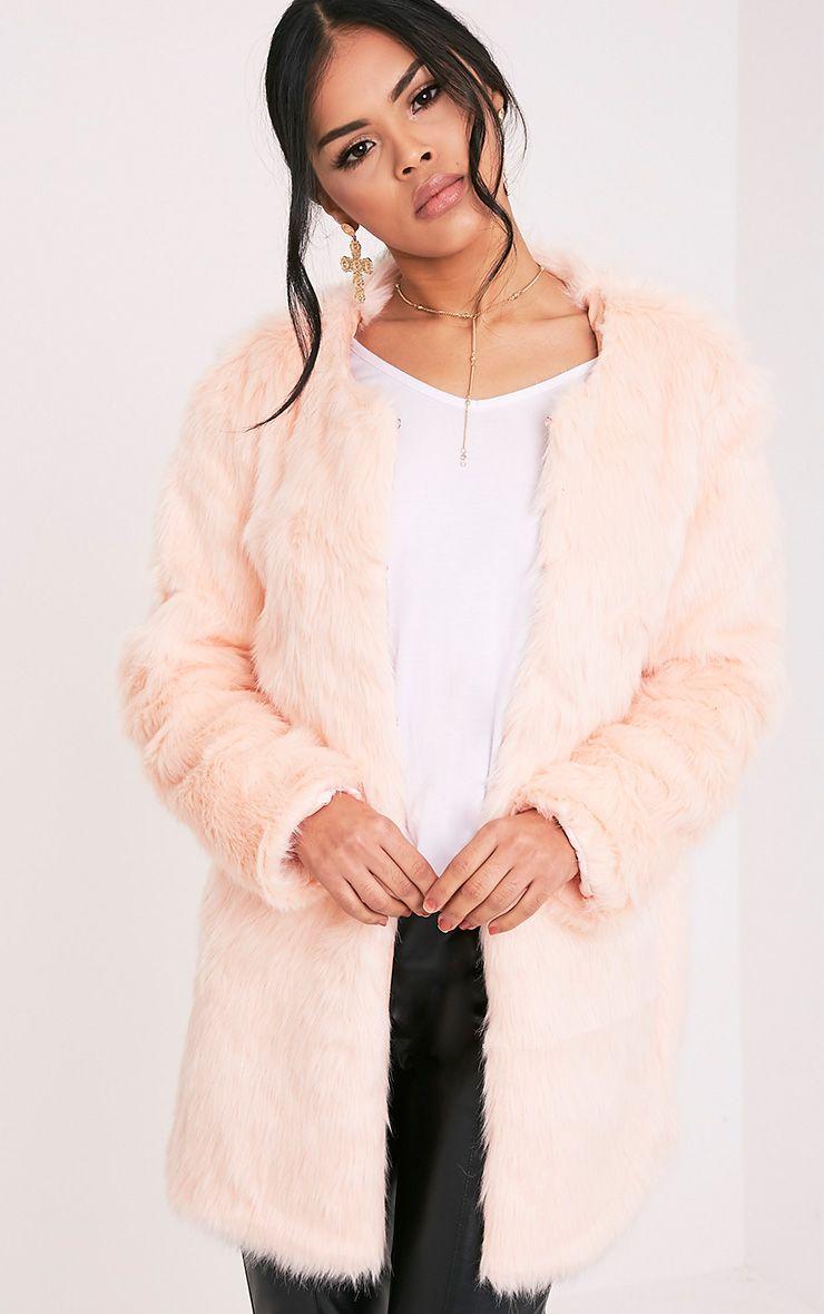 Florencia Baby Pink Faux Fur Coat 1