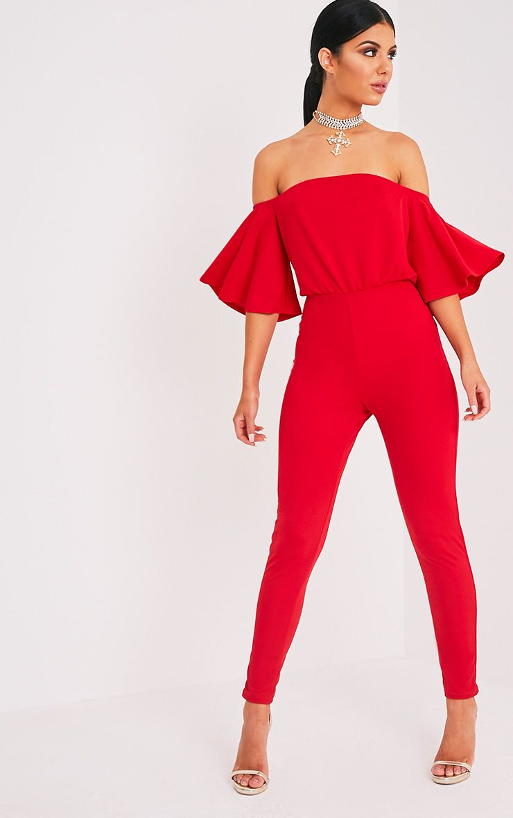 Junna Red Bardot Crepe Jumpsuit
