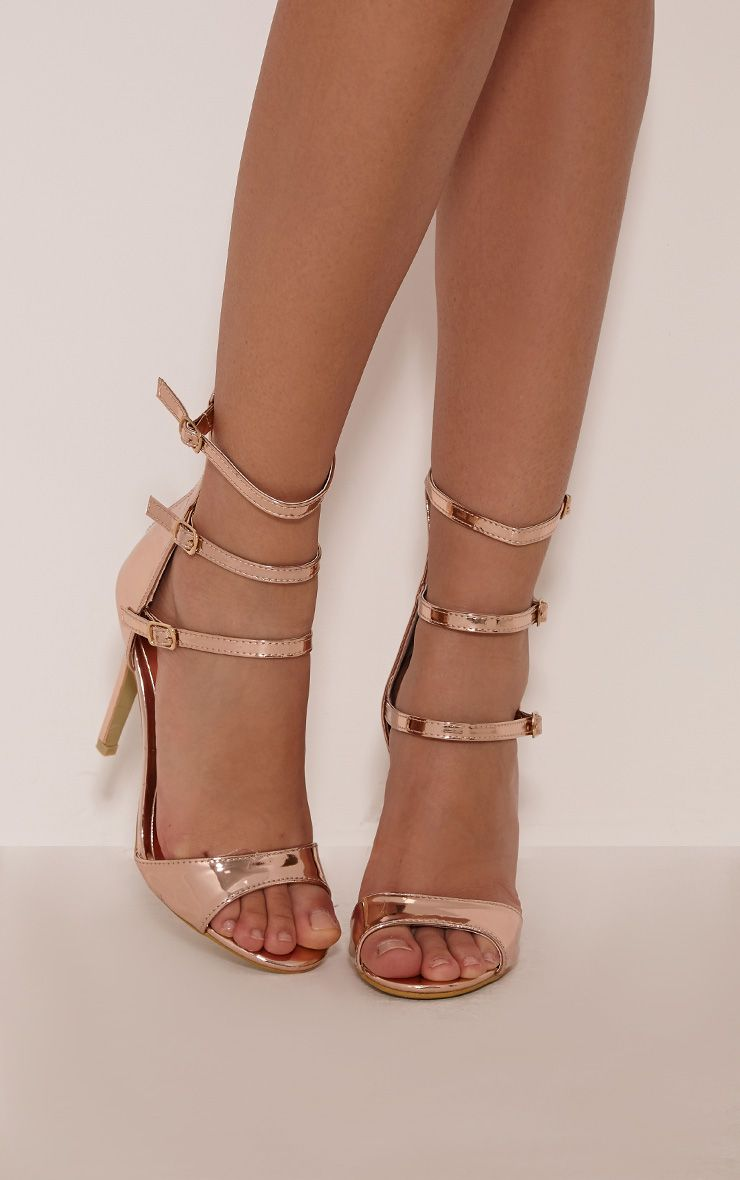 Riah Rose Gold Metallic Multi Strap Heeled Sandals 1