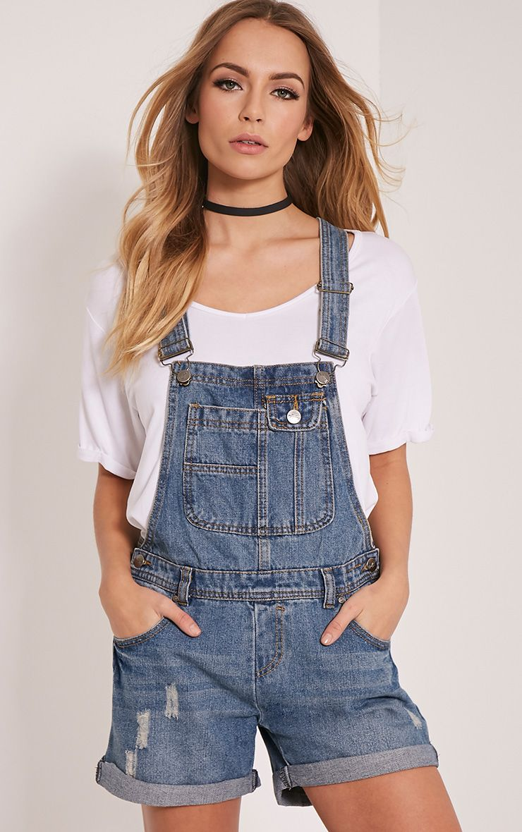 Arina Blue Denim Dungaree Shorts 1