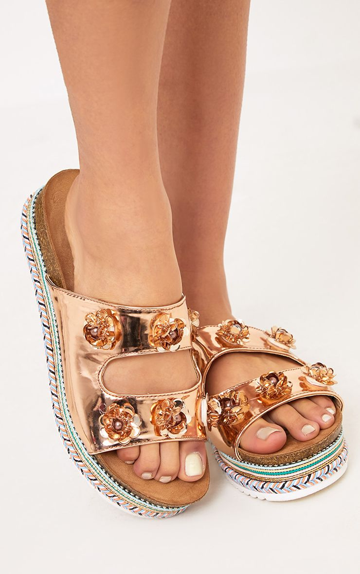 Ann Rose Gold Metallic Embellished Flatform Sandals