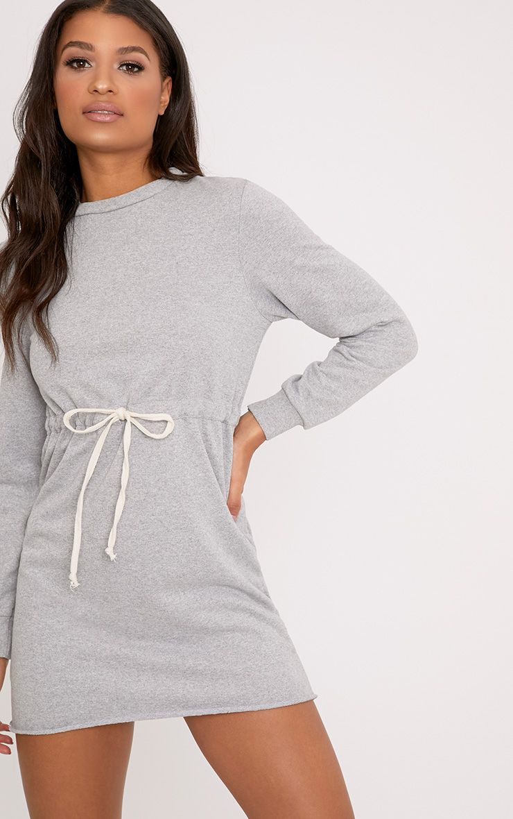 Suzanne Grey Tie Waist Sweater Dress