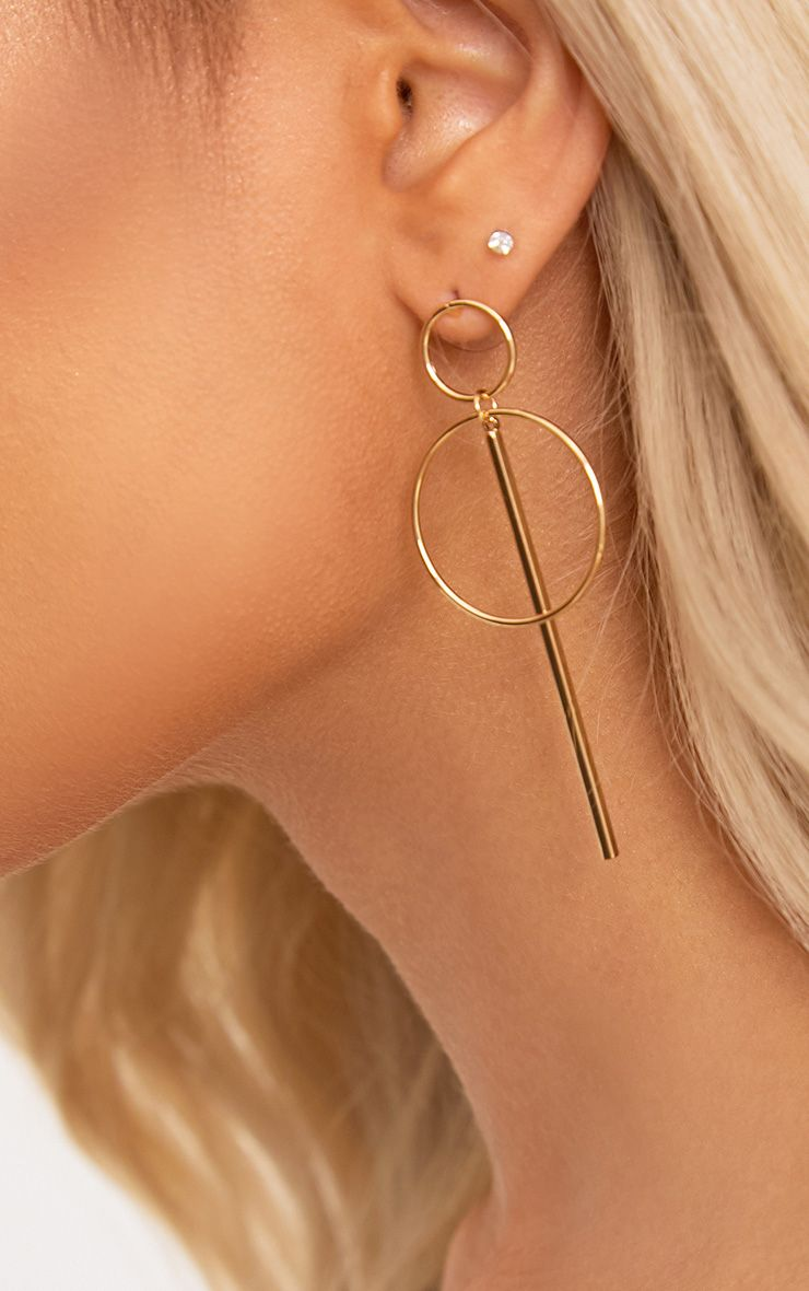 Gold Double Circle Bar Earrings