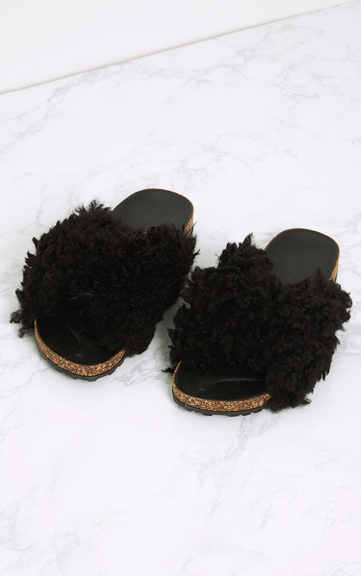 Fayah Black Faux Shearling Sliders