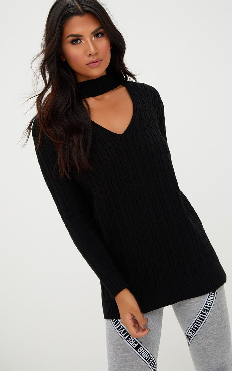 Black Choker Knitted Jumper