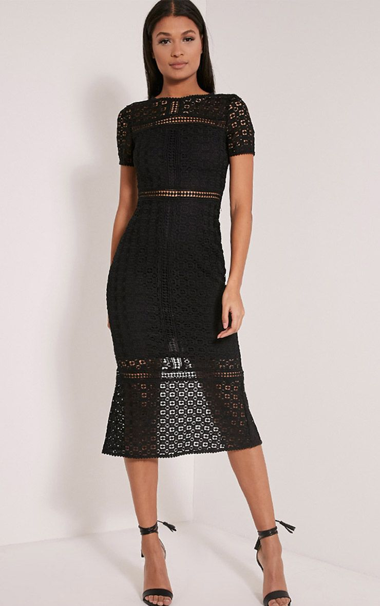 Midira Black Crochet Lace Midi Dress