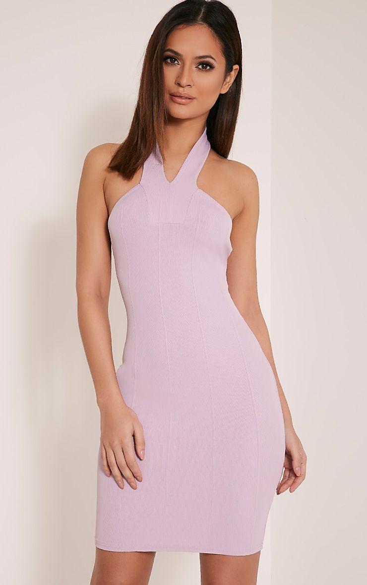 Chessie Mauve Halterneck Bandage Bodycon Dress 1