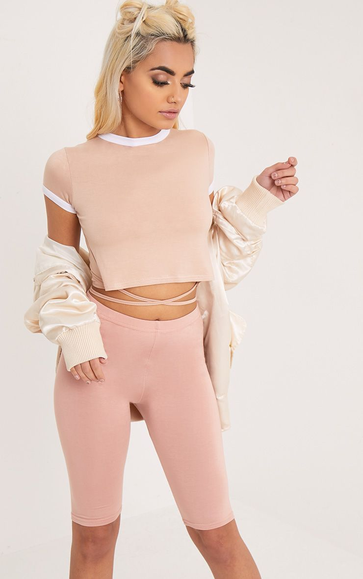 Phillipa Nude Jersey Harness Contrast Crop T Shirt
