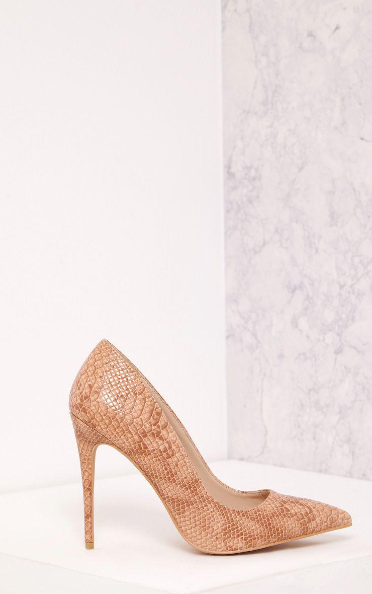 Ellia Nude Faux Snake Skin Pointed Heels