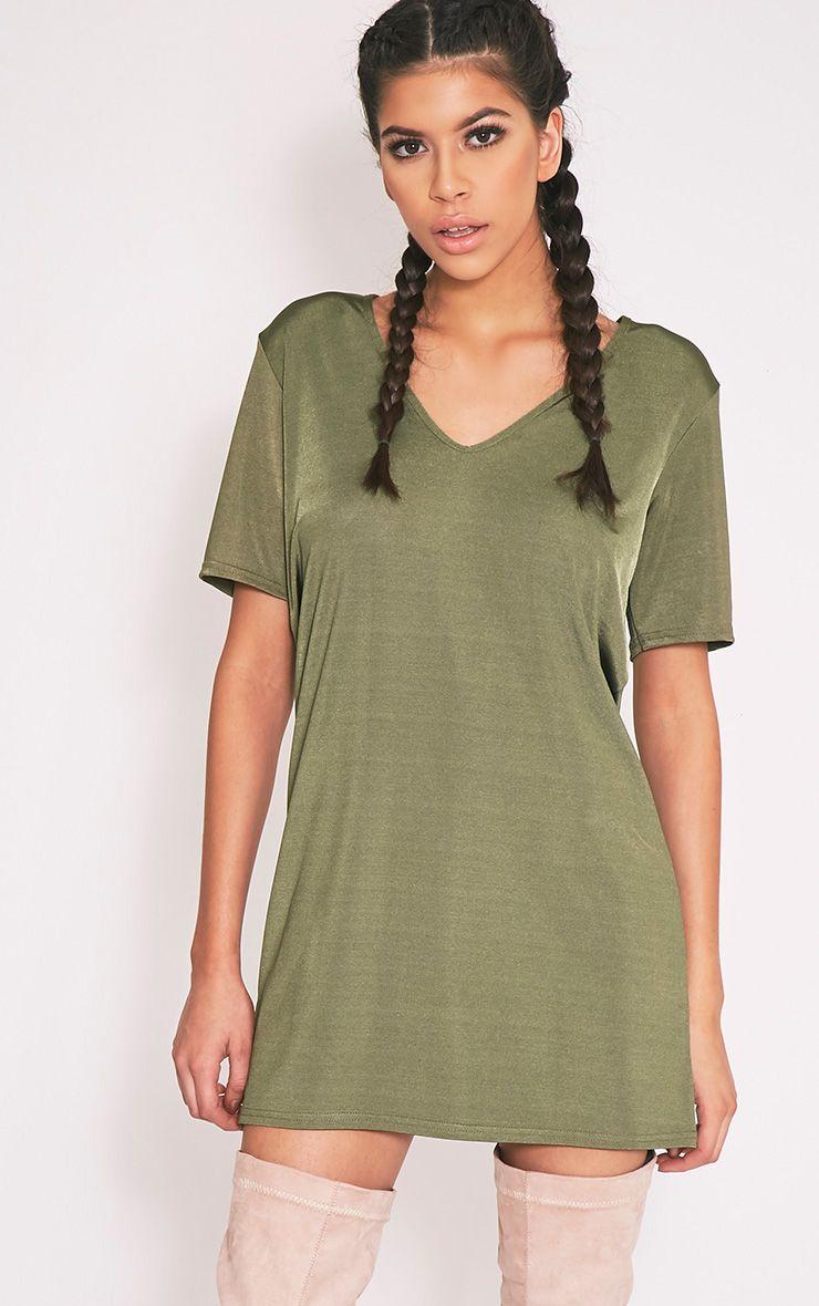 Nyla Khaki Slinky V Neck T Shirt Dress 1