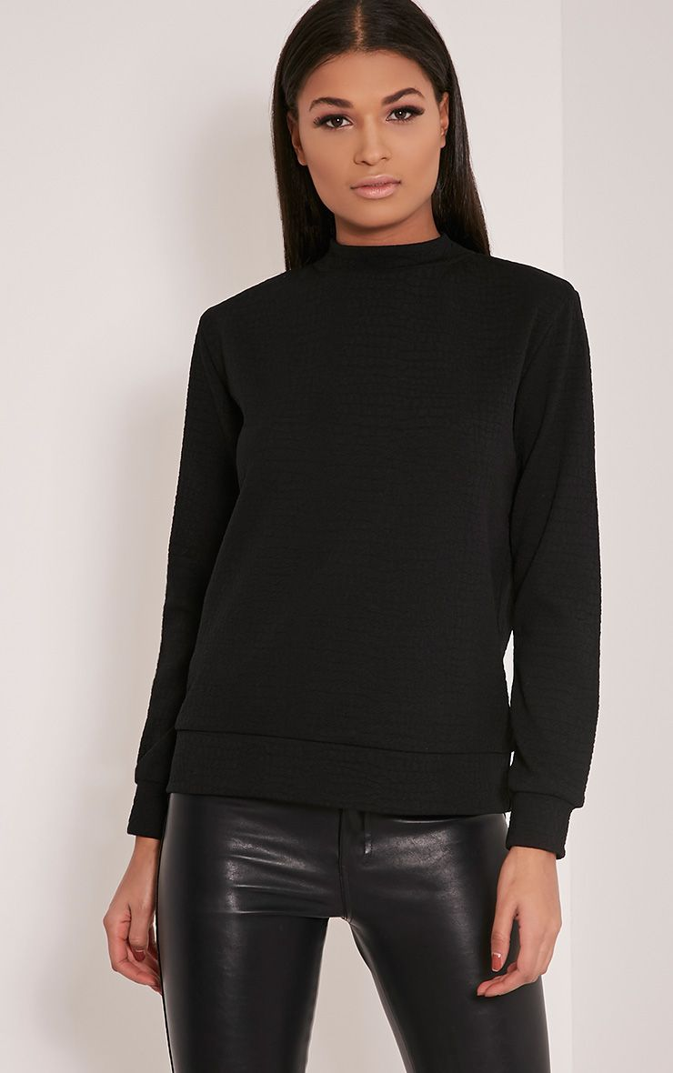 Mandy Black Snakeskin Effect Sweatshirt 1