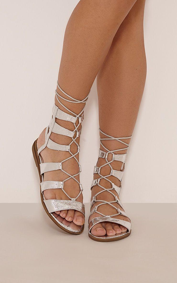 Reilli Silver Metallic Gladiator Sandals 1
