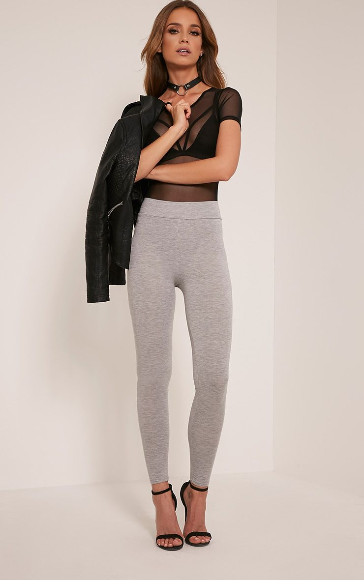 Basic Grey High Waisted Jersey Leggings