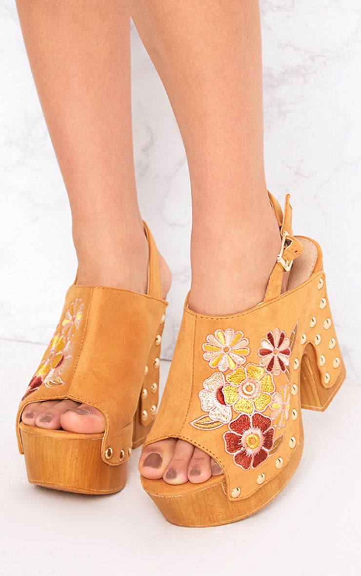 Tia Camel Embroidered Studded Platforms