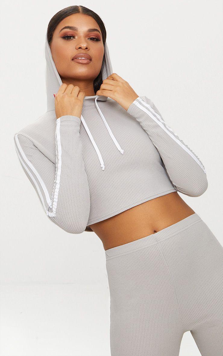Grey Rib Sport Stripe Crop Hoodie