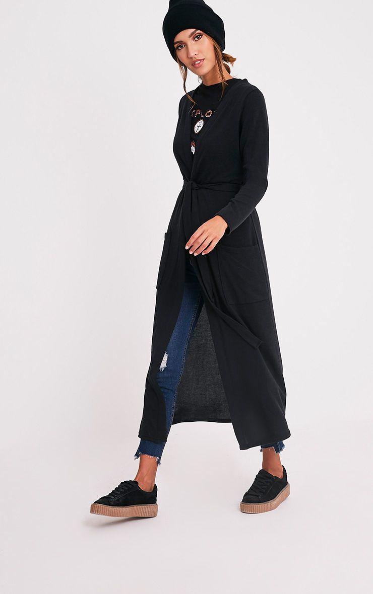 Liona cardigan maxi avec ceinture noir 5