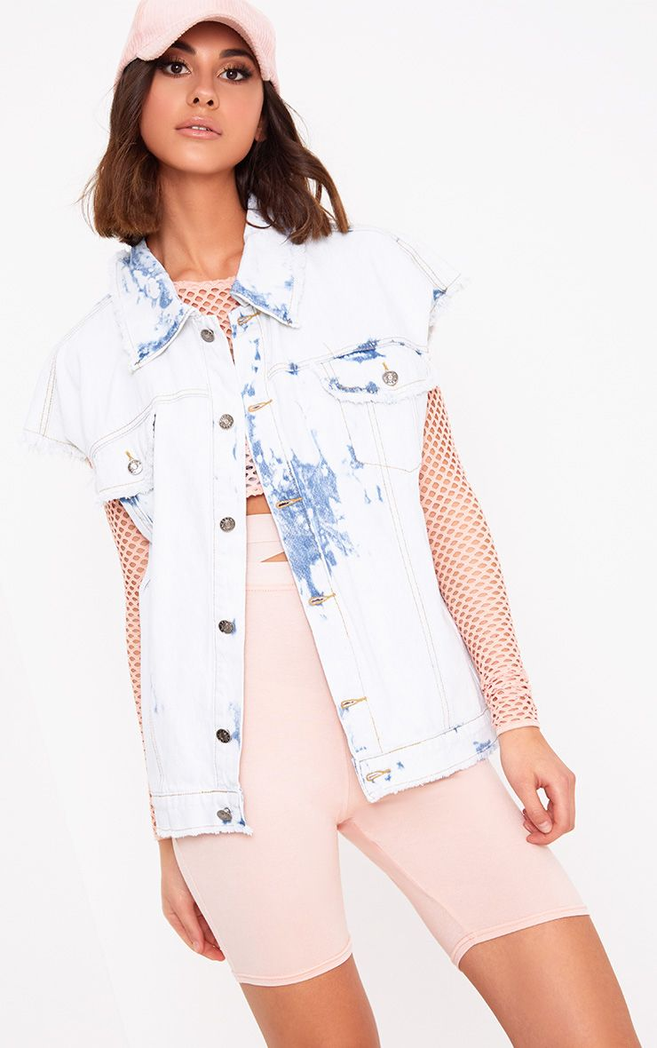 Siann Bleach Wash Sleeveless Distress Denim Jacket