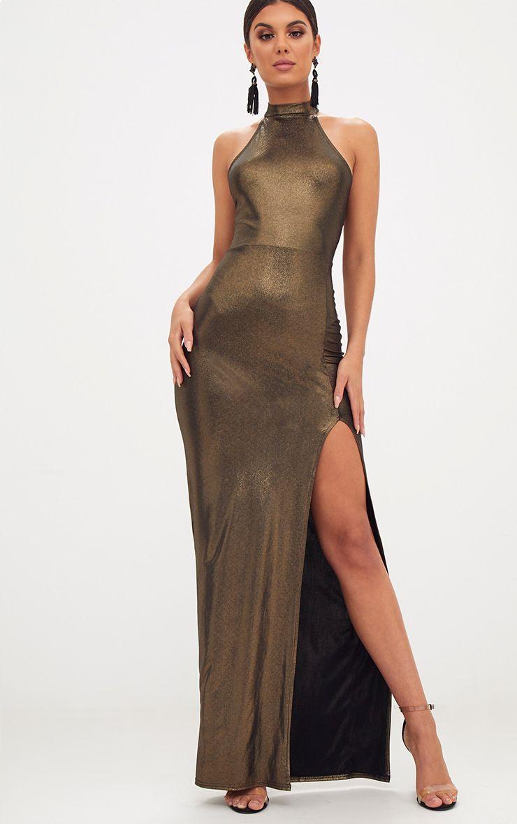 Gold Metallic High Neck Maxi Dress | Dresses | PrettyLittleThing USA