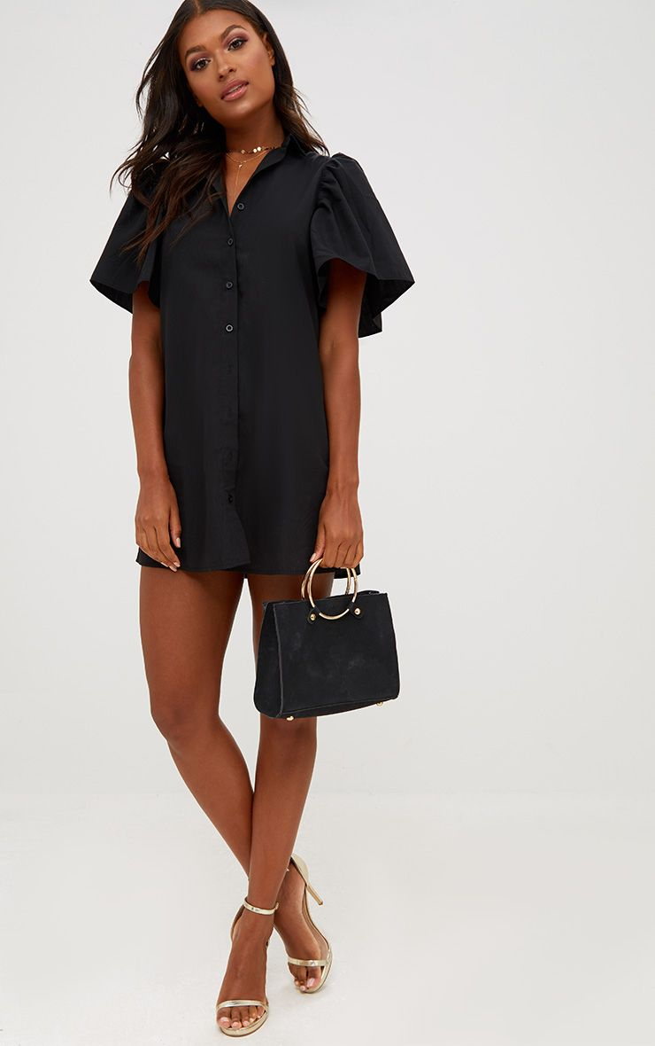 Black Flared Short Sleeve Shirt Dress