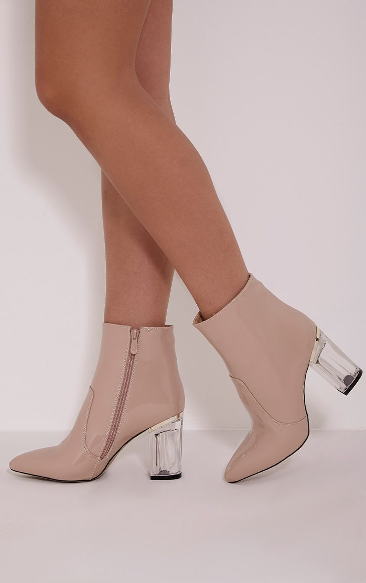 Kalia Nude Perspex Heel Ankle Boots 1