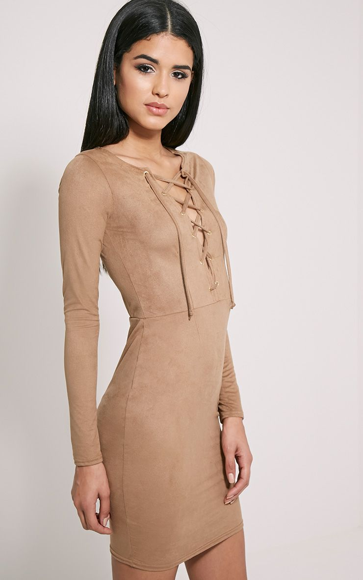 Solita Camel Faux Suede Lace Up Mini Dress 1