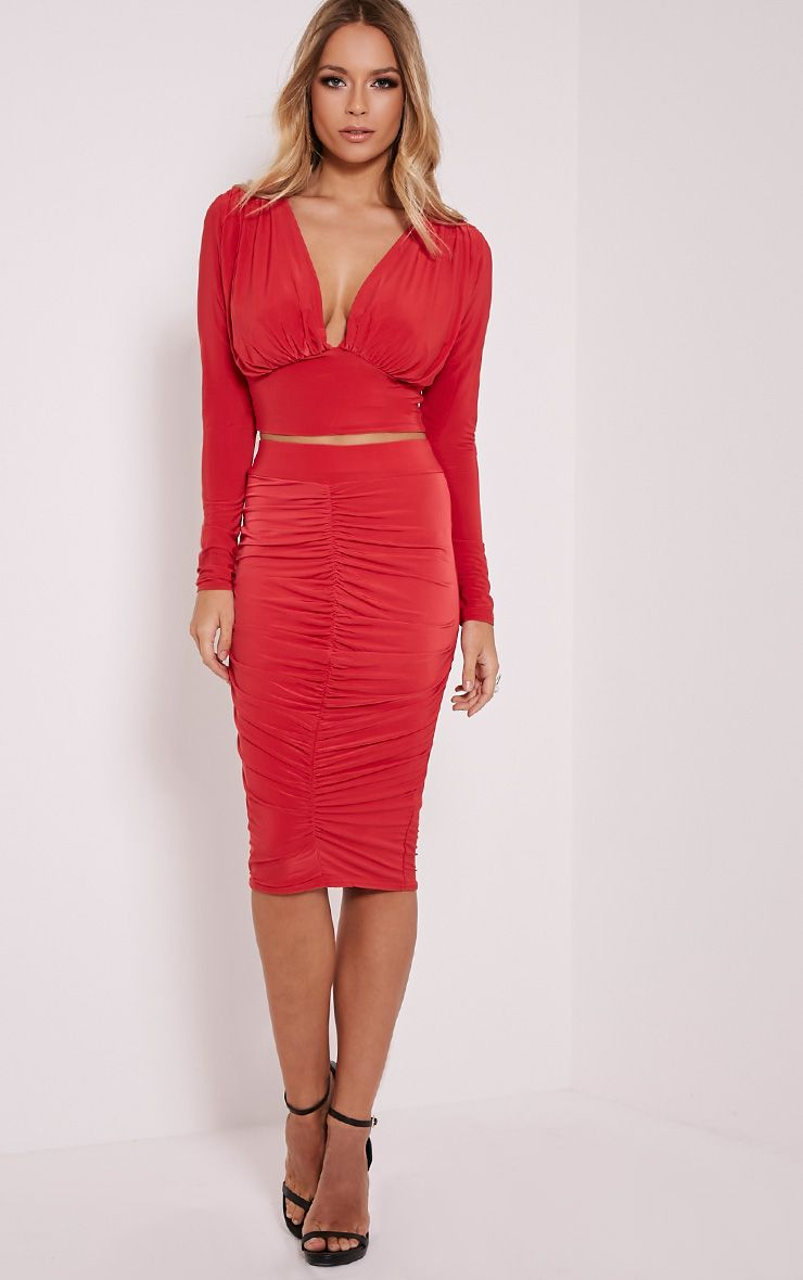 Nicole Red Slinky Ruched Midi Skirt 1
