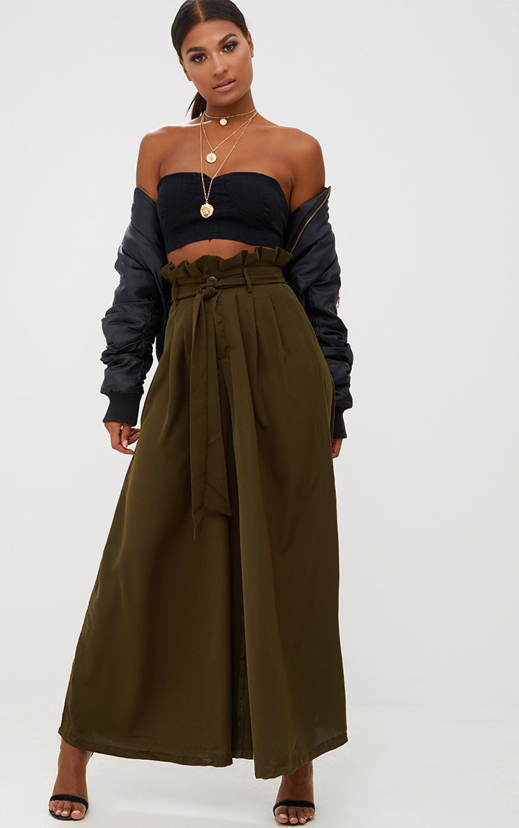 Khaki Wide Leg Paperbag Trousers