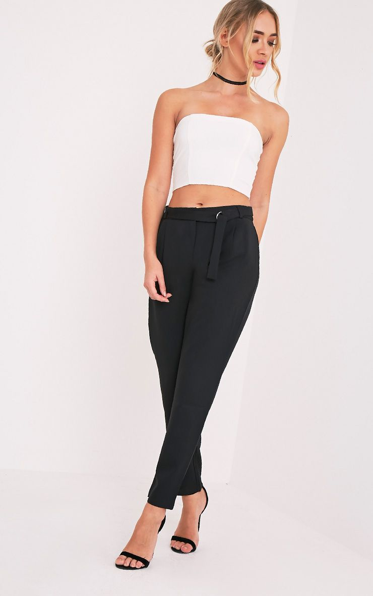 Teena Black D-Ring Belted Trousers