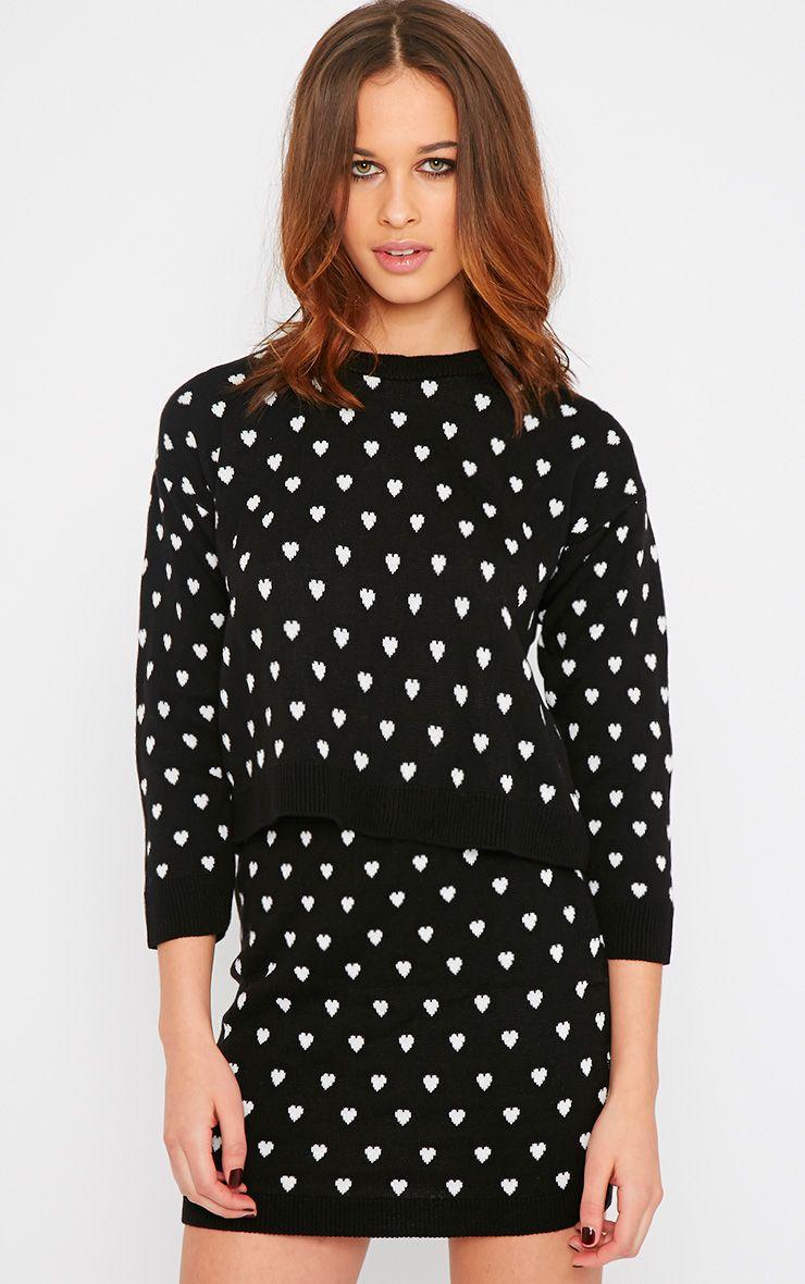 Kyna Black Heart Print Sweater 1