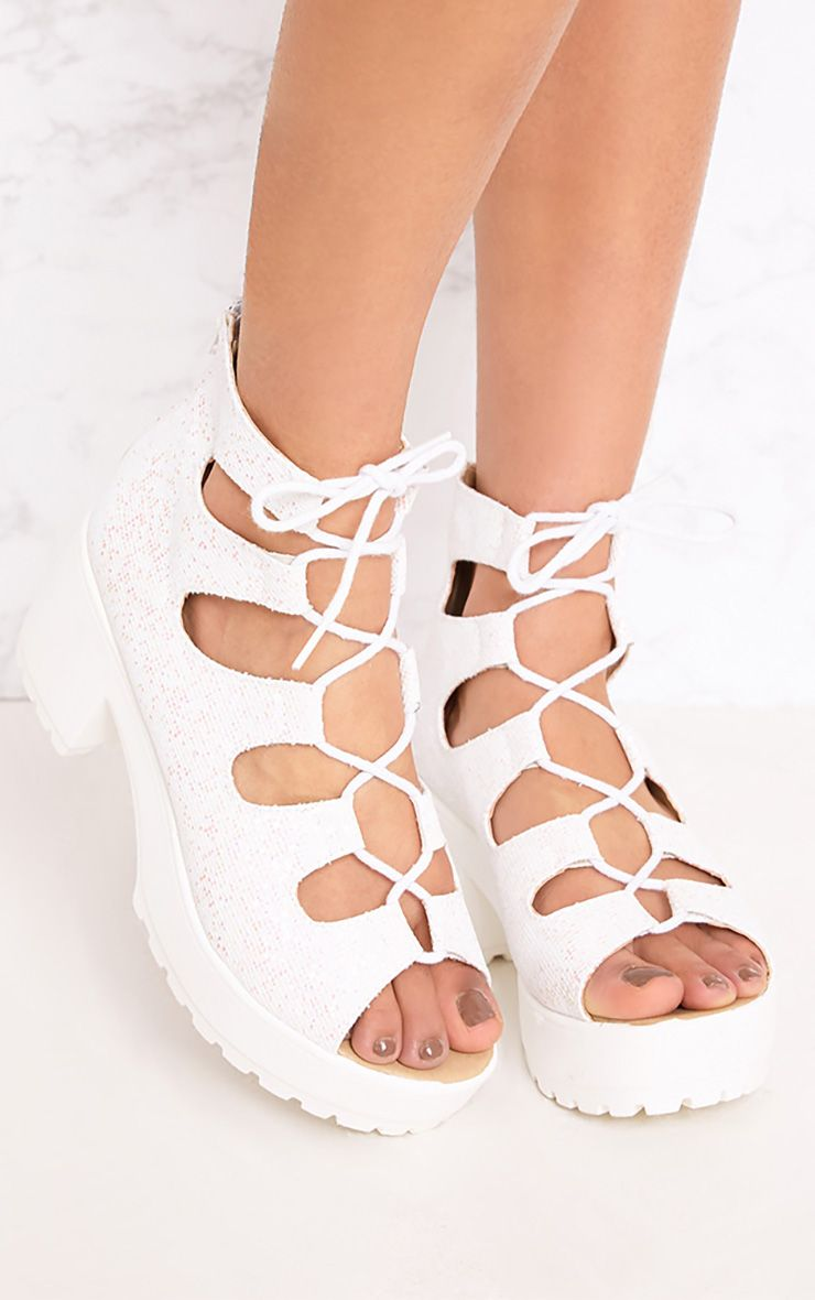 Caprice White Metallic Lace Up Sandals