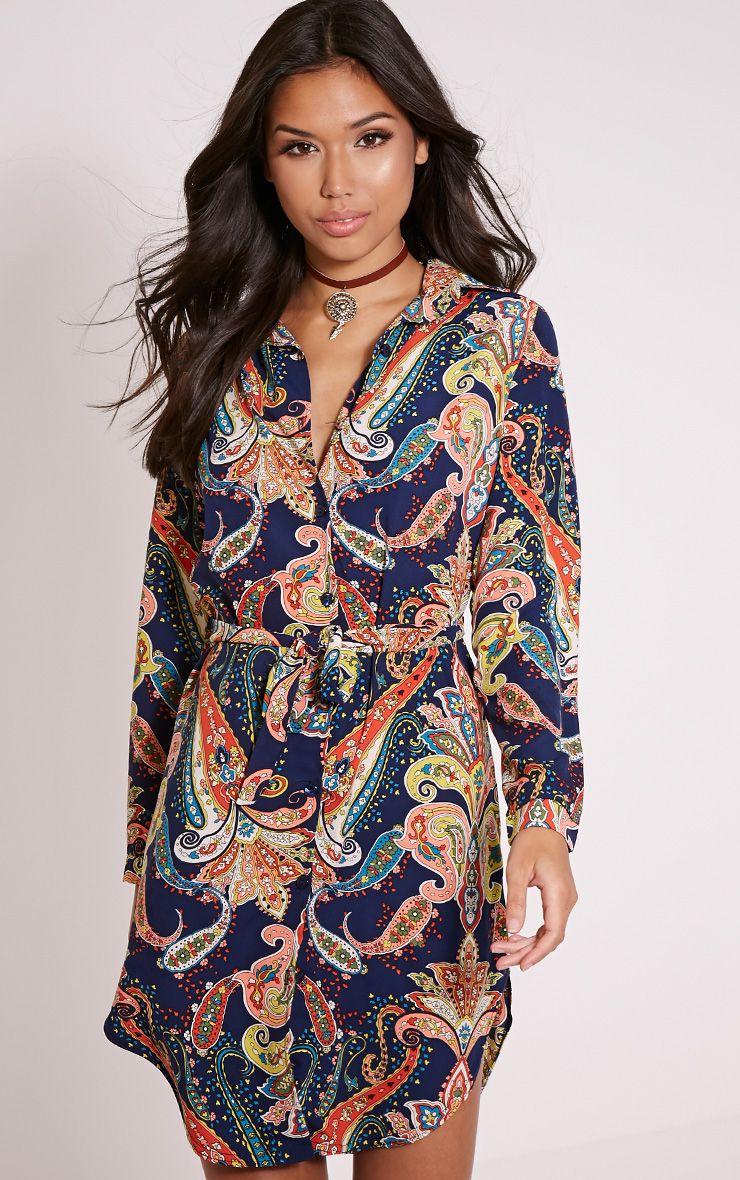 Nico Navy Paisley Print Shirt Dress 1