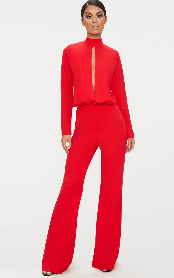 Red Keyhole Cut Out Jumpsuit