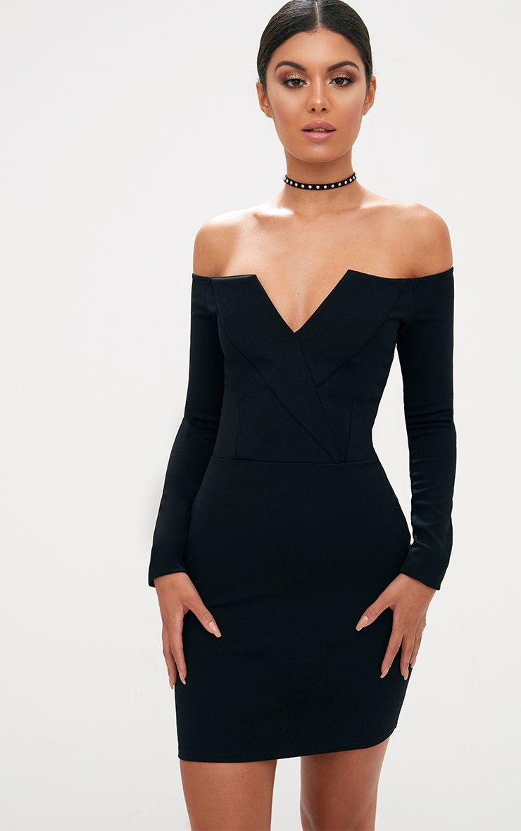 Black Bardot Blazer Bodycon Dress