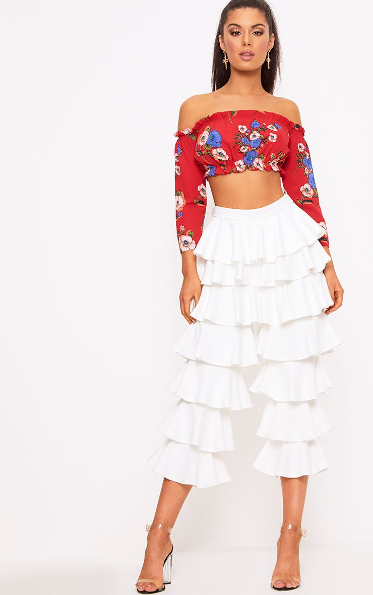 White Ra-ra Frill Cropped Trousers